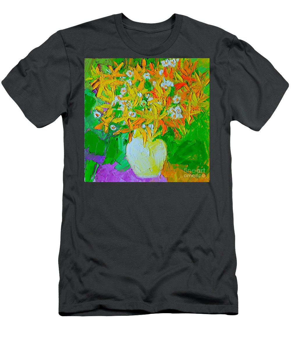 Forsythia Men's T-Shirt (Athletic Fit) featuring the painting Spring Flowers by Ana Maria Edulescu