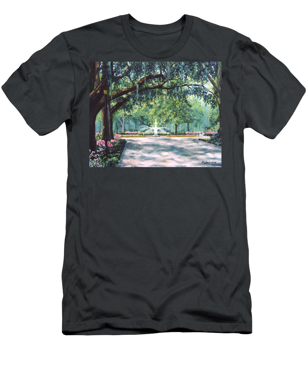 Savannah T-Shirt featuring the painting Spring In Forsythe Park by Stanton Allaben