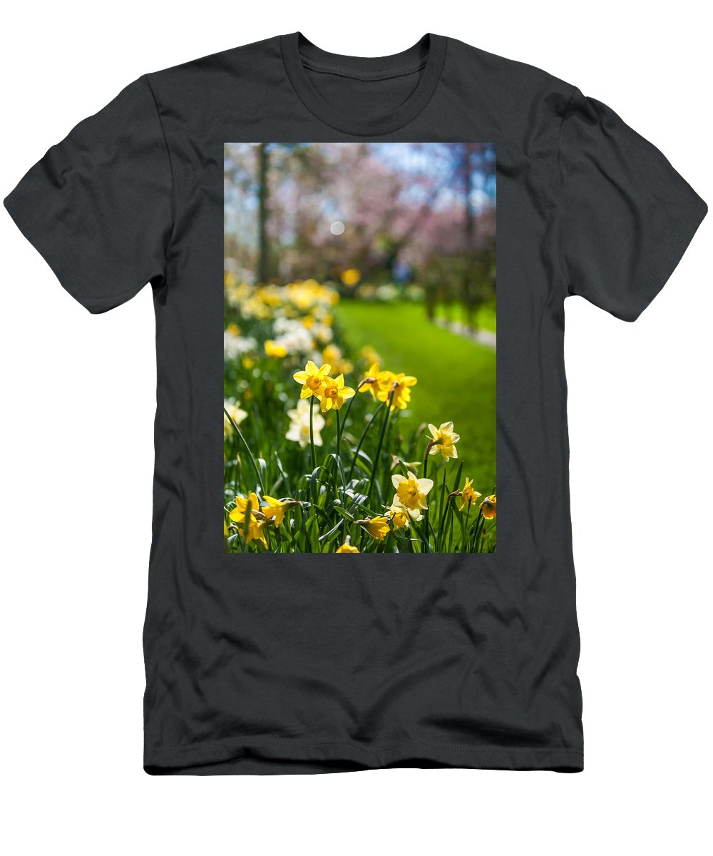 Spring Men's T-Shirt (Athletic Fit) featuring the photograph Spring In Holland. Garden Keukenhof by Jenny Rainbow