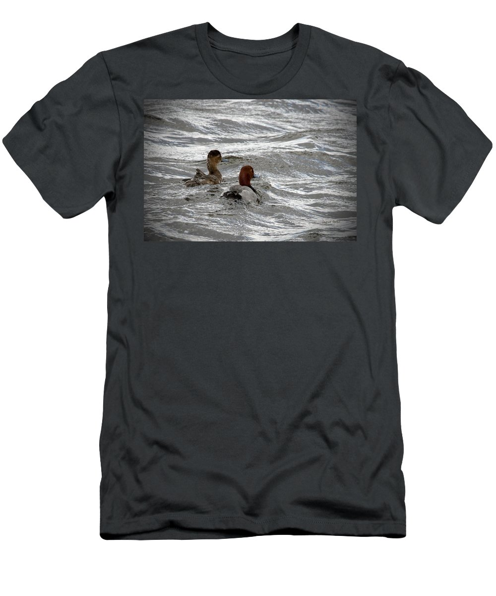 Red Head Duck Men's T-Shirt (Athletic Fit) featuring the photograph Spring Is In The Air by Jayne Gohr