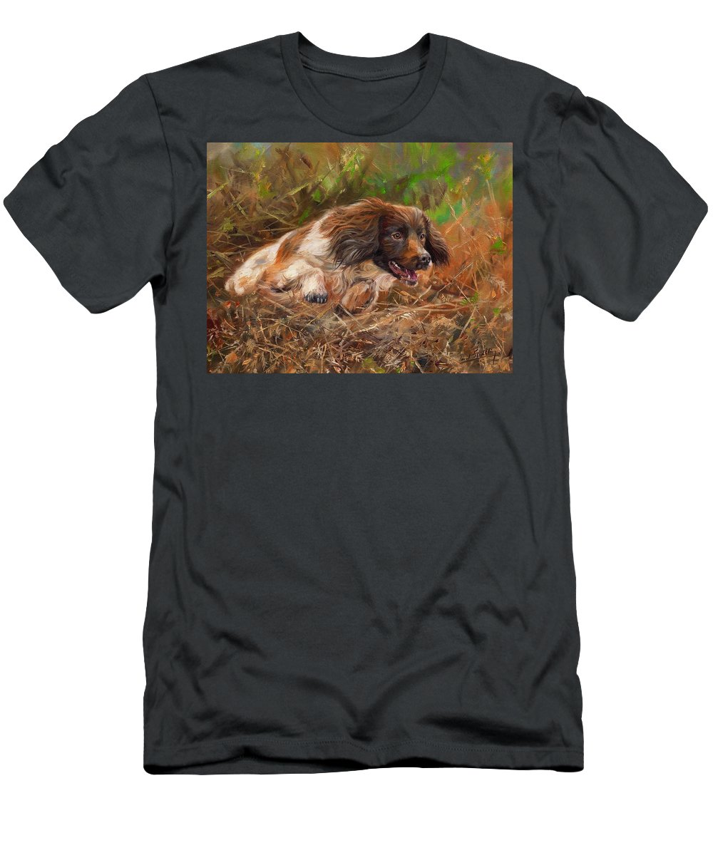 Springer Men's T-Shirt (Athletic Fit) featuring the painting Springer Spaniel 2 by David Stribbling