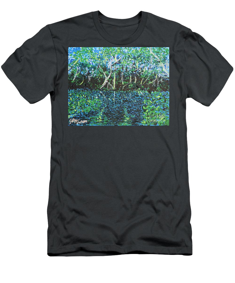 Landscape Men's T-Shirt (Athletic Fit) featuring the painting Springtime In Wekiva by Stefan Duncan