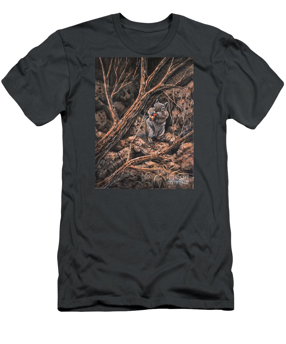 Squirrel Men's T-Shirt (Athletic Fit) featuring the painting Squirrel-ly by Ricardo Chavez-Mendez