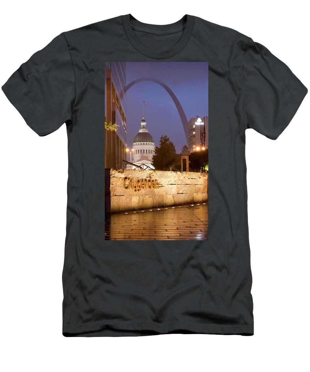 St Louis Men's T-Shirt (Athletic Fit) featuring the photograph St Louis Archfrom City Garden by Garry McMichael