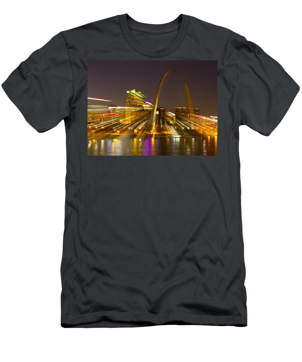 St Louis Men's T-Shirt (Athletic Fit) featuring the photograph St Louis Skyline With Special Zoom Effect by Garry McMichael