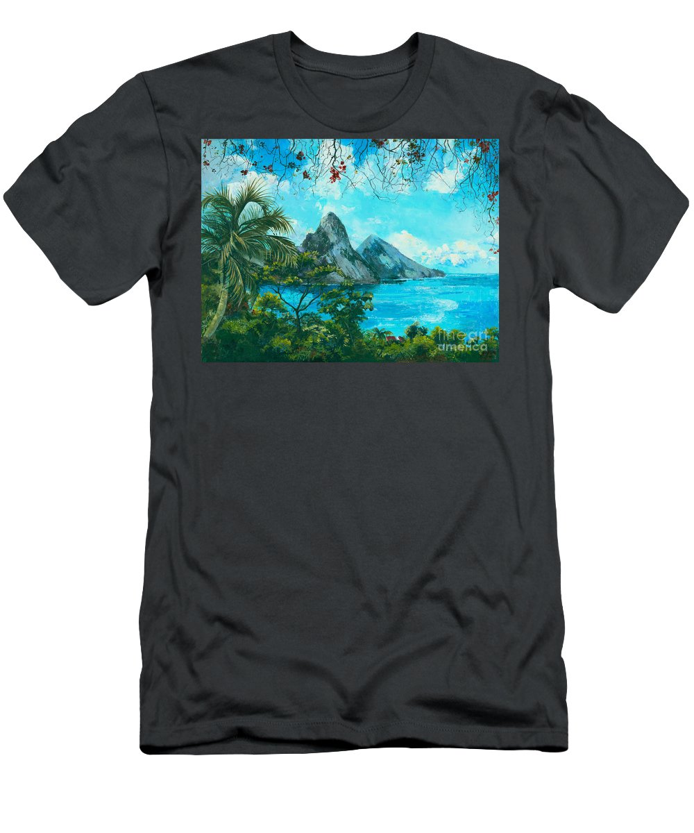 Mountains Men's T-Shirt (Athletic Fit) featuring the painting St. Lucia - W. Indies by Elisabeta Hermann
