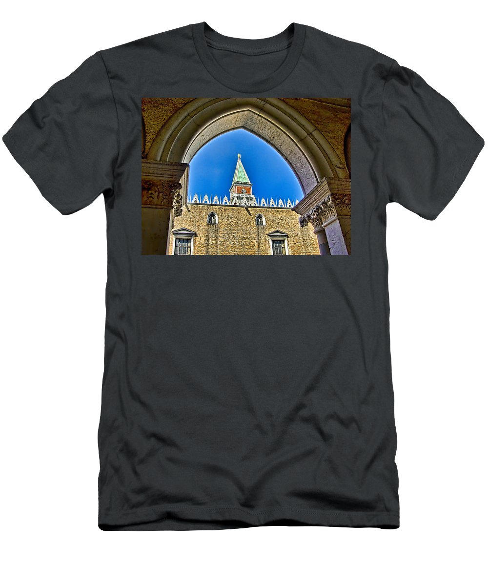 Venice Italy Men's T-Shirt (Athletic Fit) featuring the photograph St Marks Tower - Venice Italy by Jon Berghoff
