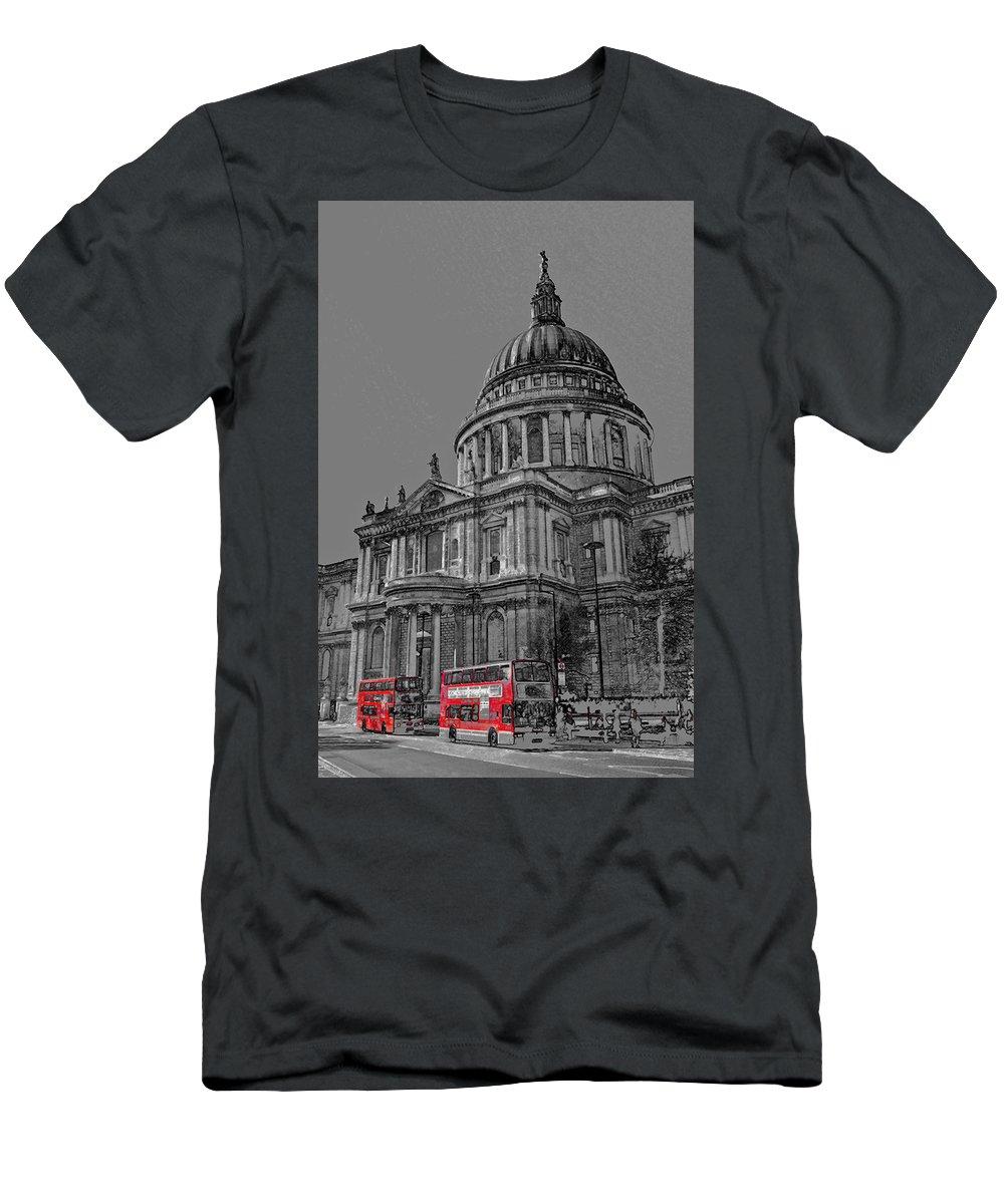 St Pauls Men's T-Shirt (Athletic Fit) featuring the digital art St Paul's Cathedral London Art by David Pyatt