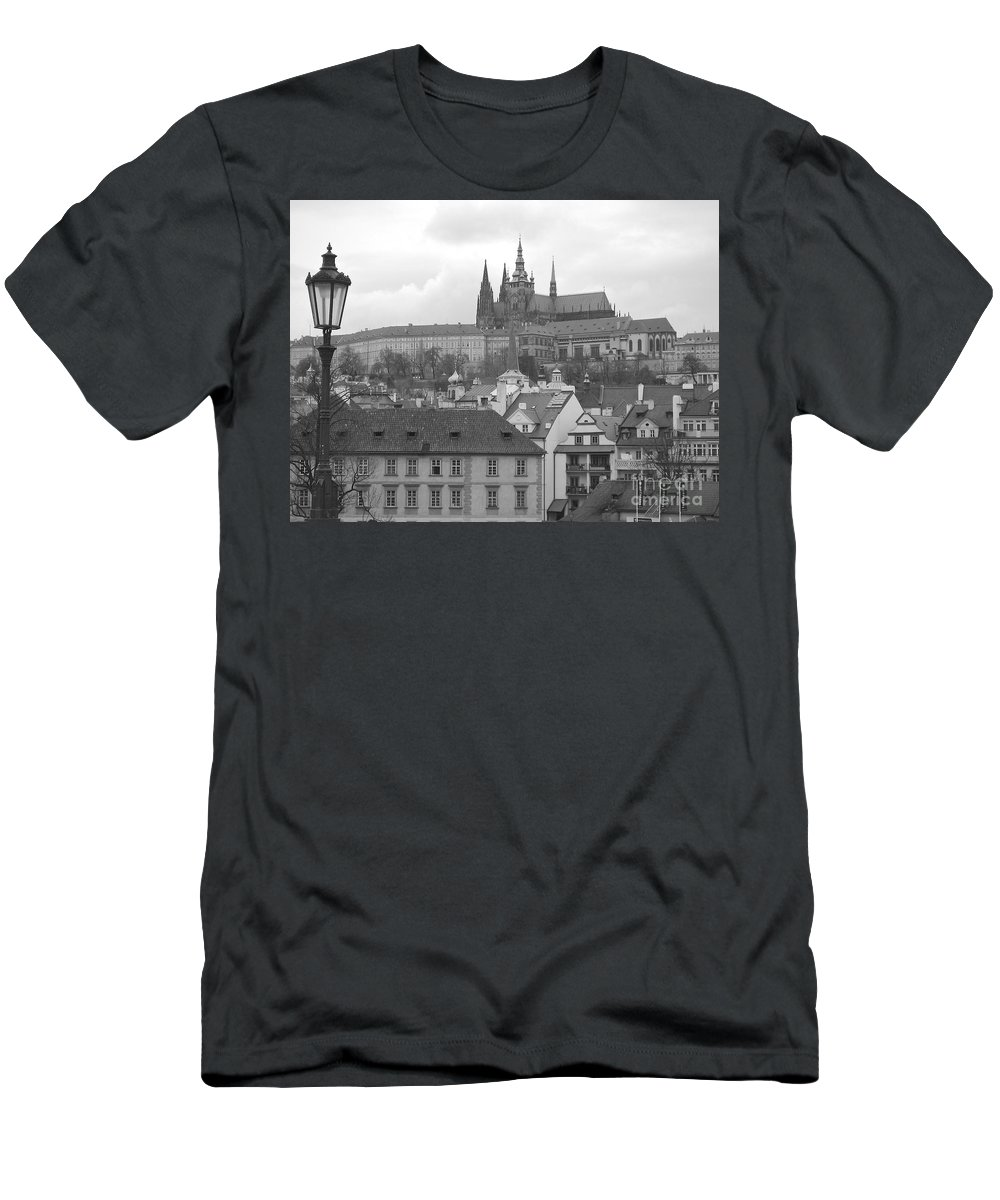 Prague City Men's T-Shirt (Athletic Fit) featuring the photograph St. Vitus Cathedral Prague by Suzanne Oesterling