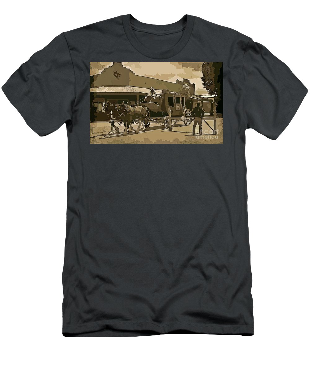 Stagecoach In Old West Arizona Men's T-Shirt (Athletic Fit) featuring the digital art Stagecoach In Old West Arizona by John Malone