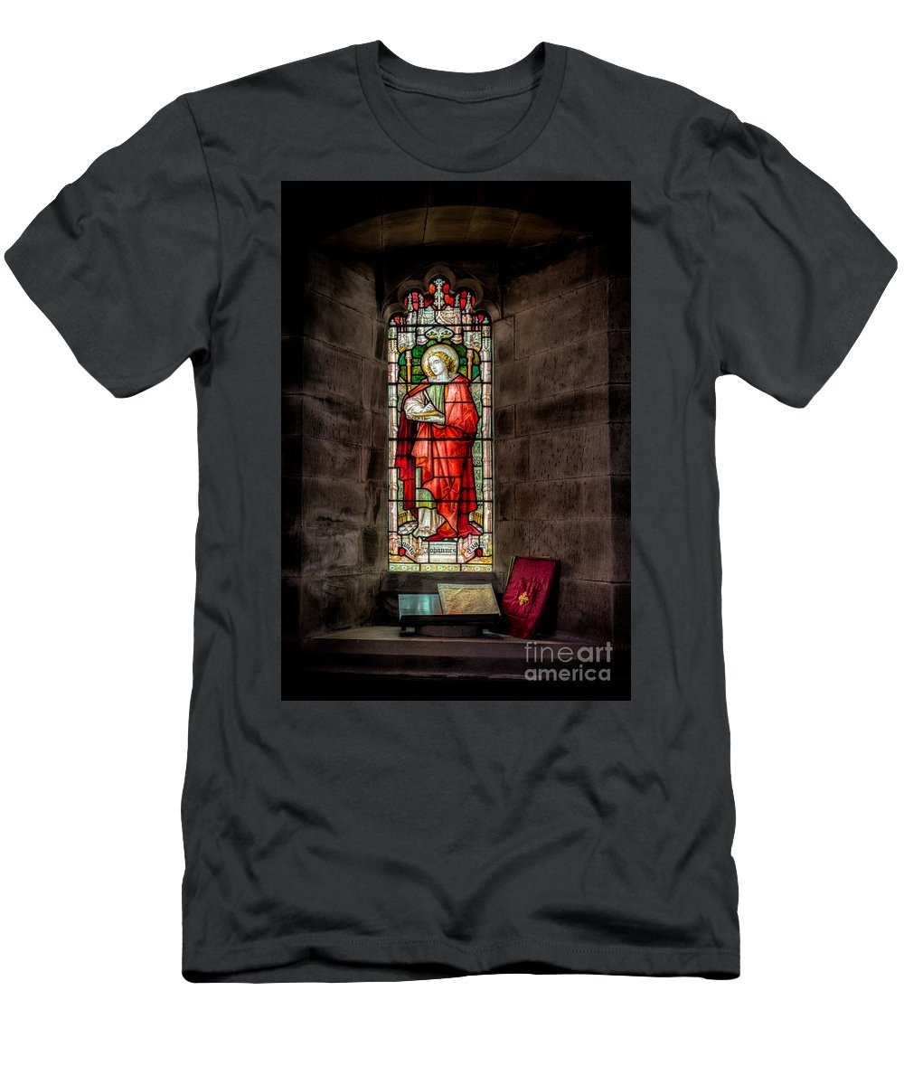 British Men's T-Shirt (Athletic Fit) featuring the photograph Stained Glass Window 2 by Adrian Evans