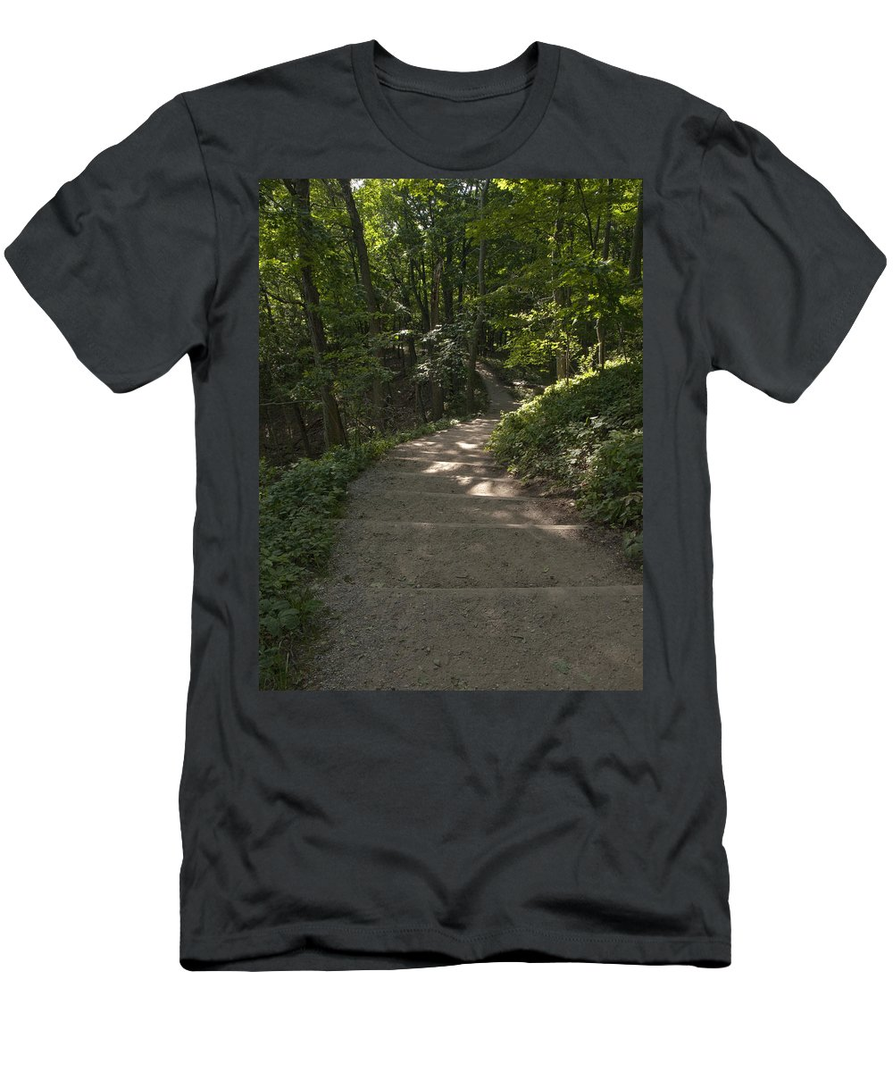 Empire Michigan Michigan Empire Stairs Green Plants Scenery Down Hill Nature Outdoors  Men's T-Shirt (Athletic Fit) featuring the photograph Stairway In Nature by Tara Lynn