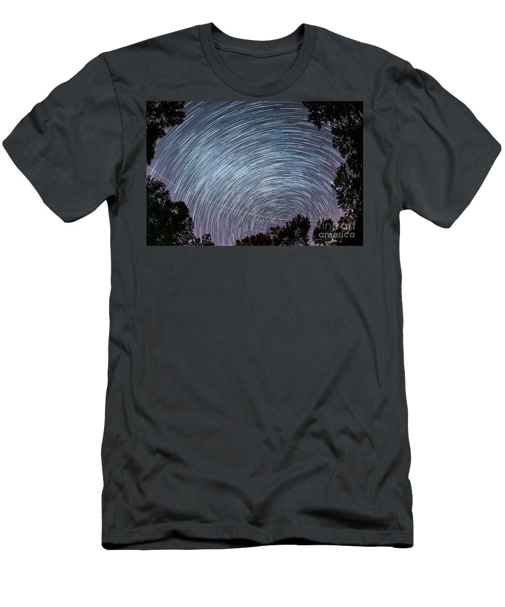 Fisheye Men's T-Shirt (Athletic Fit) featuring the photograph Star Trails by Michael Ver Sprill