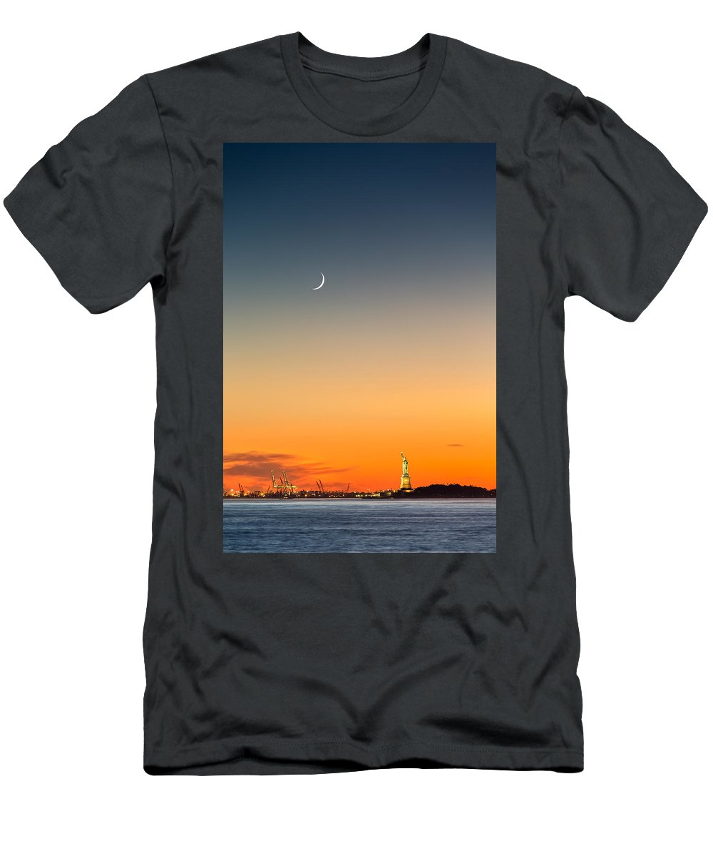 America Men's T-Shirt (Athletic Fit) featuring the photograph Statue Of Liberty Under A Crescent Moon by Mihai Andritoiu