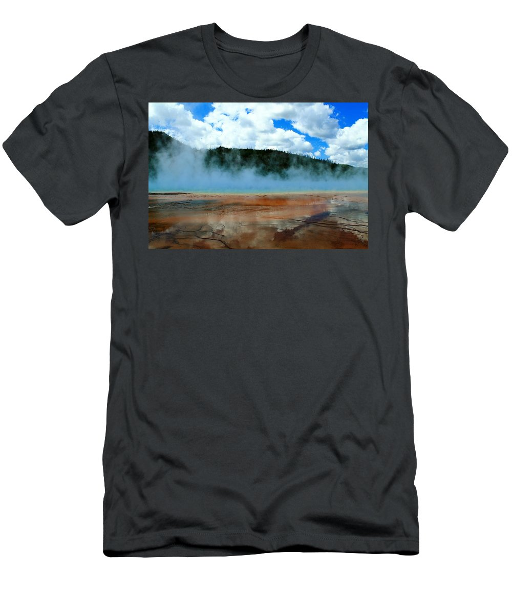 Yellowstone National Park Men's T-Shirt (Athletic Fit) featuring the photograph Steam Bath by Catie Canetti