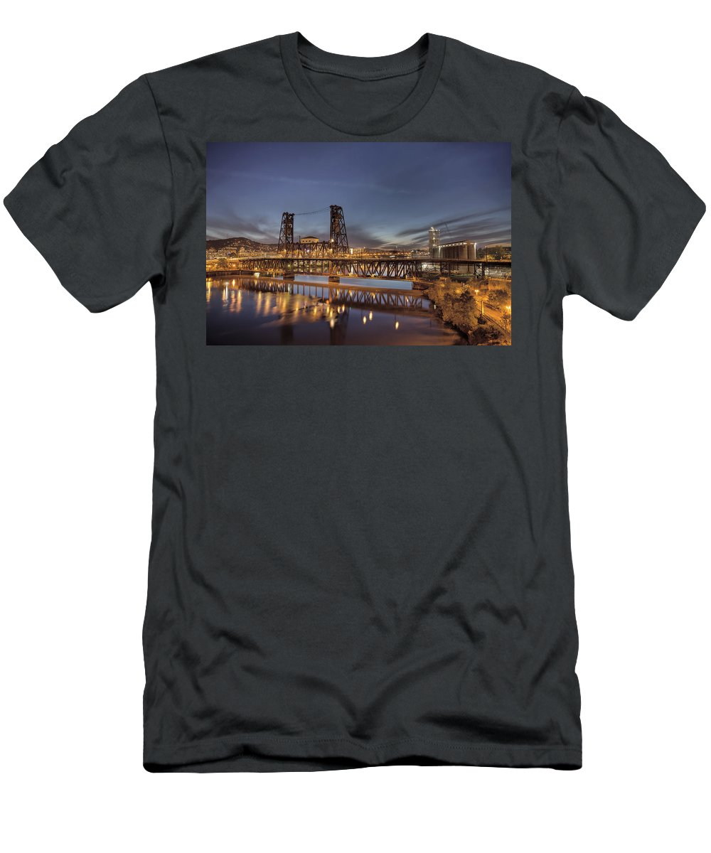 Steel Bridge Men's T-Shirt (Athletic Fit) featuring the photograph Steel Bridge Over Willamette River At Blue Hour by Jit Lim