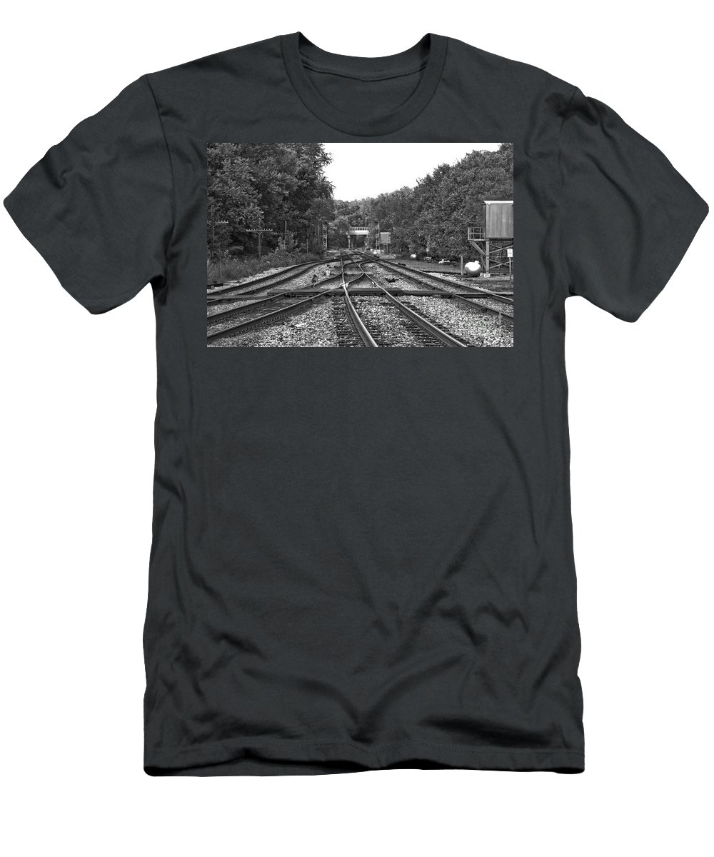 Railroad Men's T-Shirt (Athletic Fit) featuring the photograph Steel Rail Intersections.  Point Of Rocks Md by Thomas Marchessault