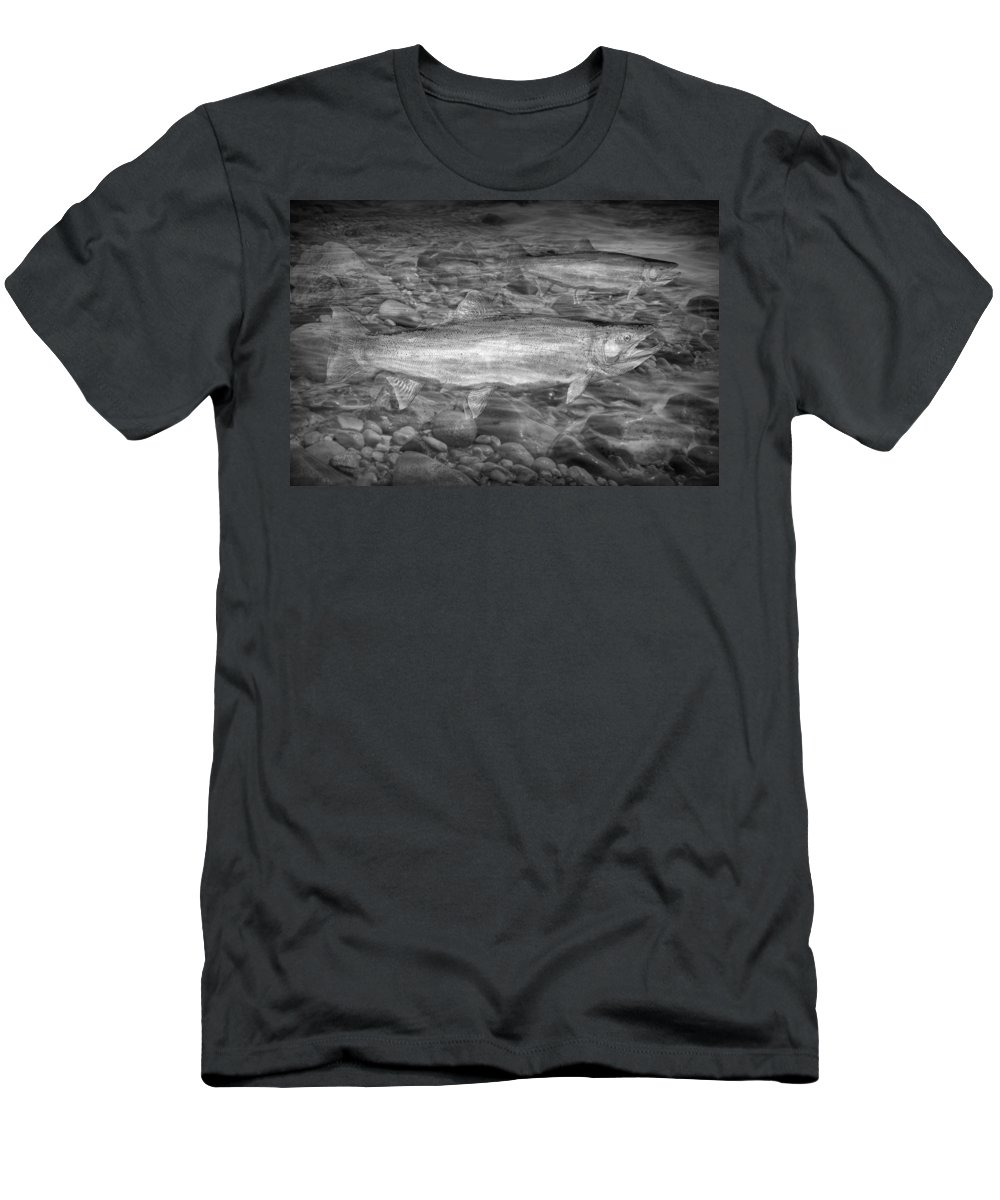 Art Men's T-Shirt (Athletic Fit) featuring the photograph Steelhead Trout Migration by Randall Nyhof