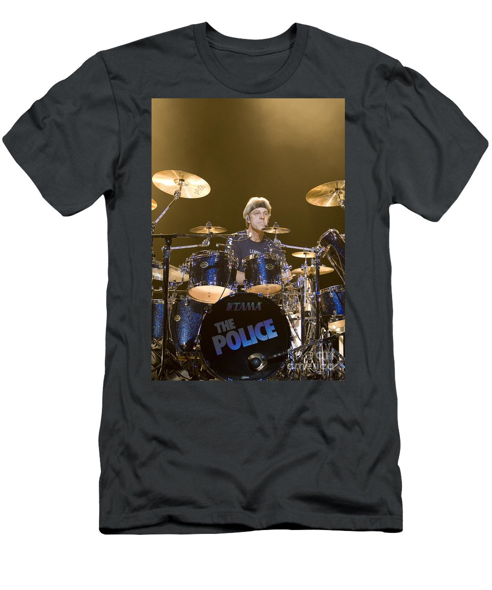 Musician T-Shirt featuring the photograph Stewart Copeland of The Police by Jason O Watson