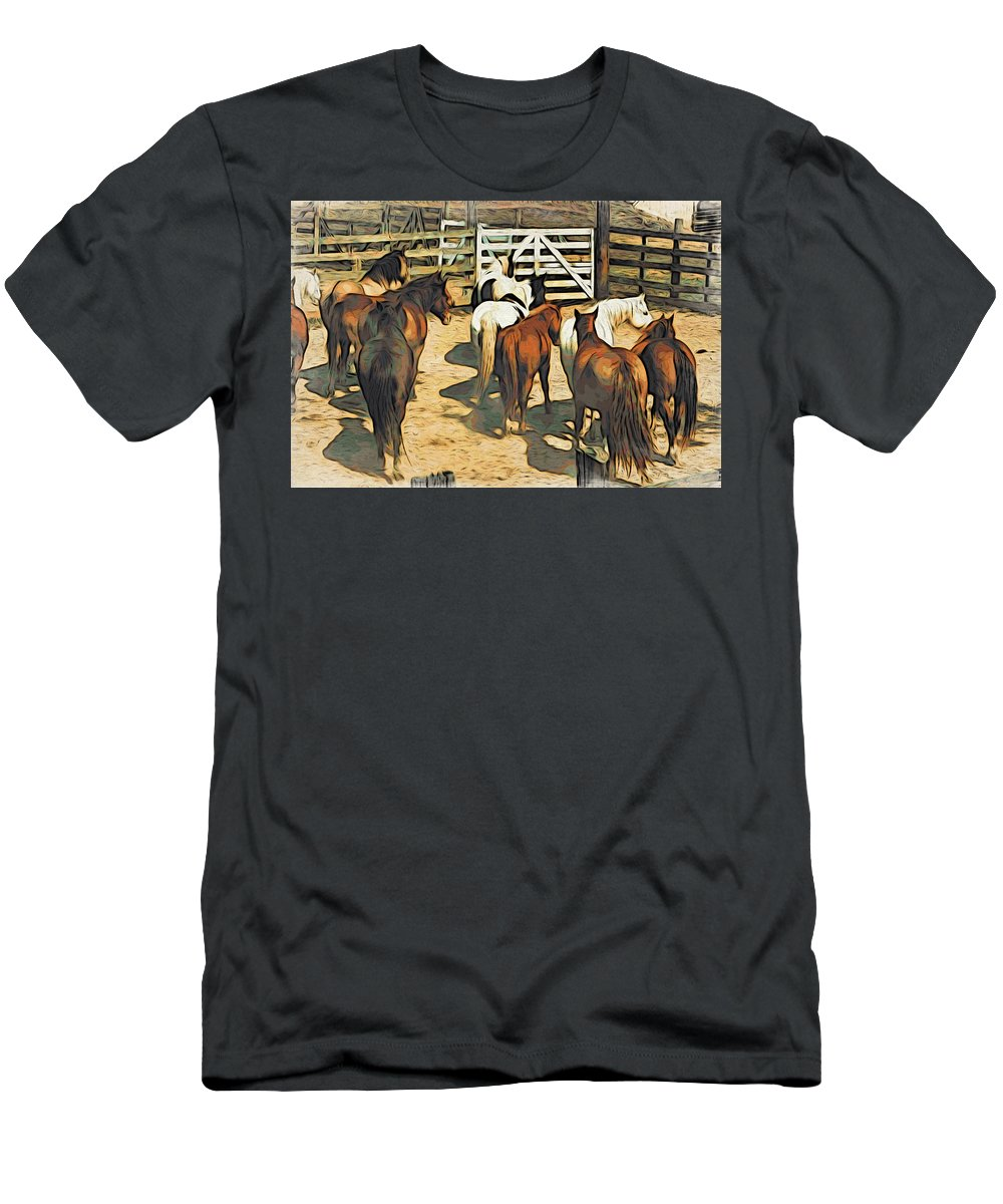 Stockyard Men's T-Shirt (Athletic Fit) featuring the photograph Stockyard by Alice Gipson
