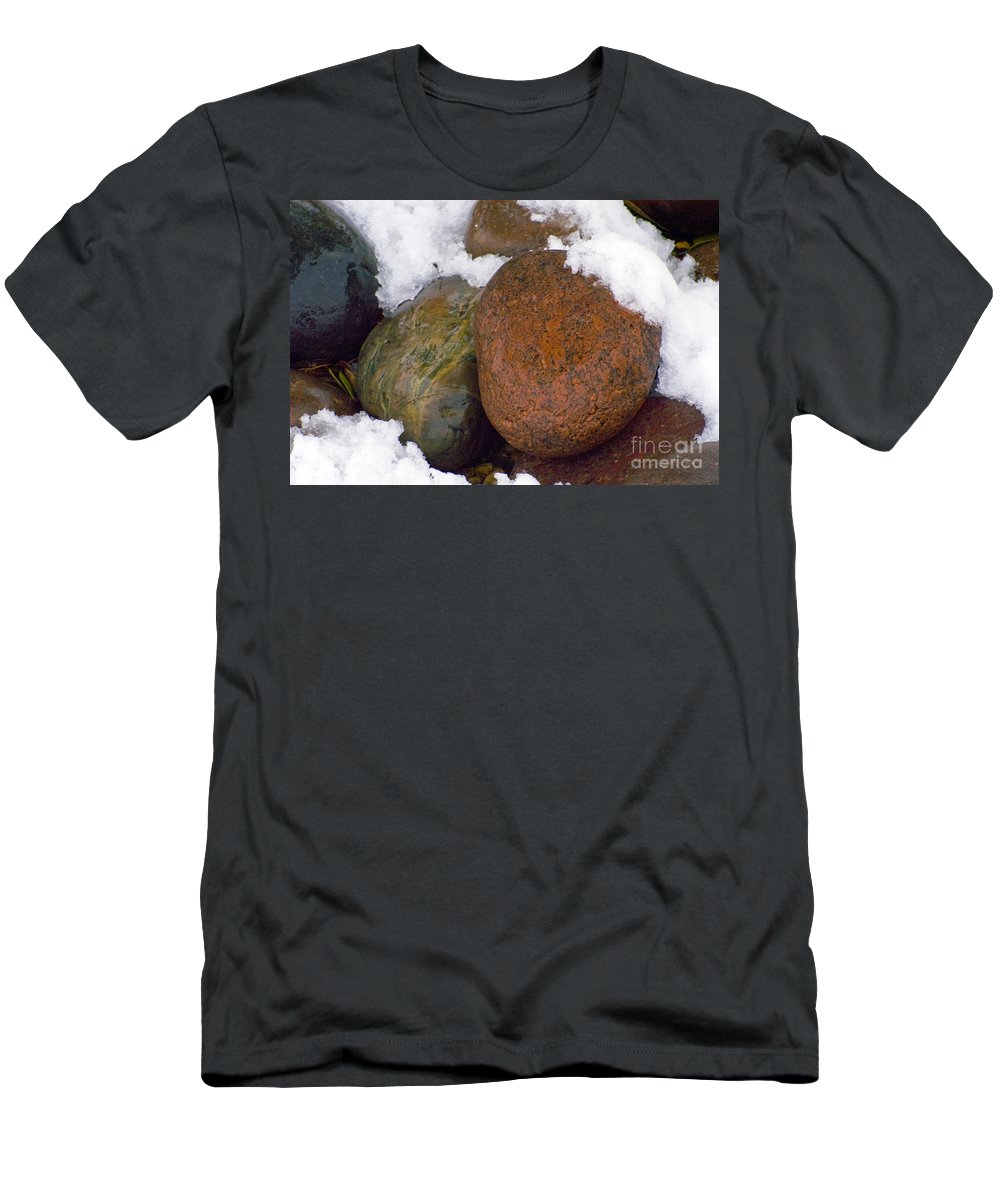Georgetown Texas Stone Stone Snow Winter Snowscape Snowscapes Men's T-Shirt (Athletic Fit) featuring the photograph Stone Cold by Bob Phillips