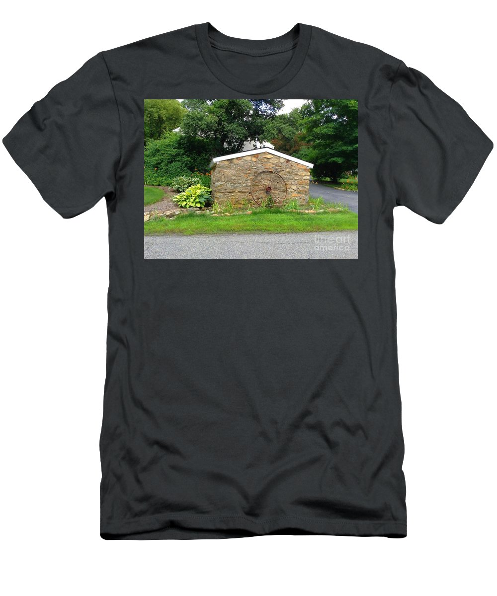 Stonewall Men's T-Shirt (Athletic Fit) featuring the photograph Stone Well Cover And Wheel by Becky Lupe