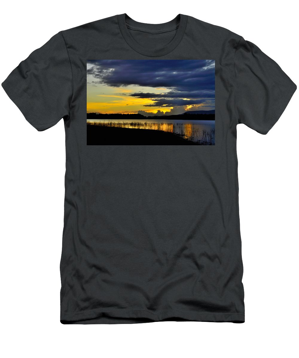 Sunset Men's T-Shirt (Athletic Fit) featuring the photograph Storm At The Lake by Guido Montanes Castillo