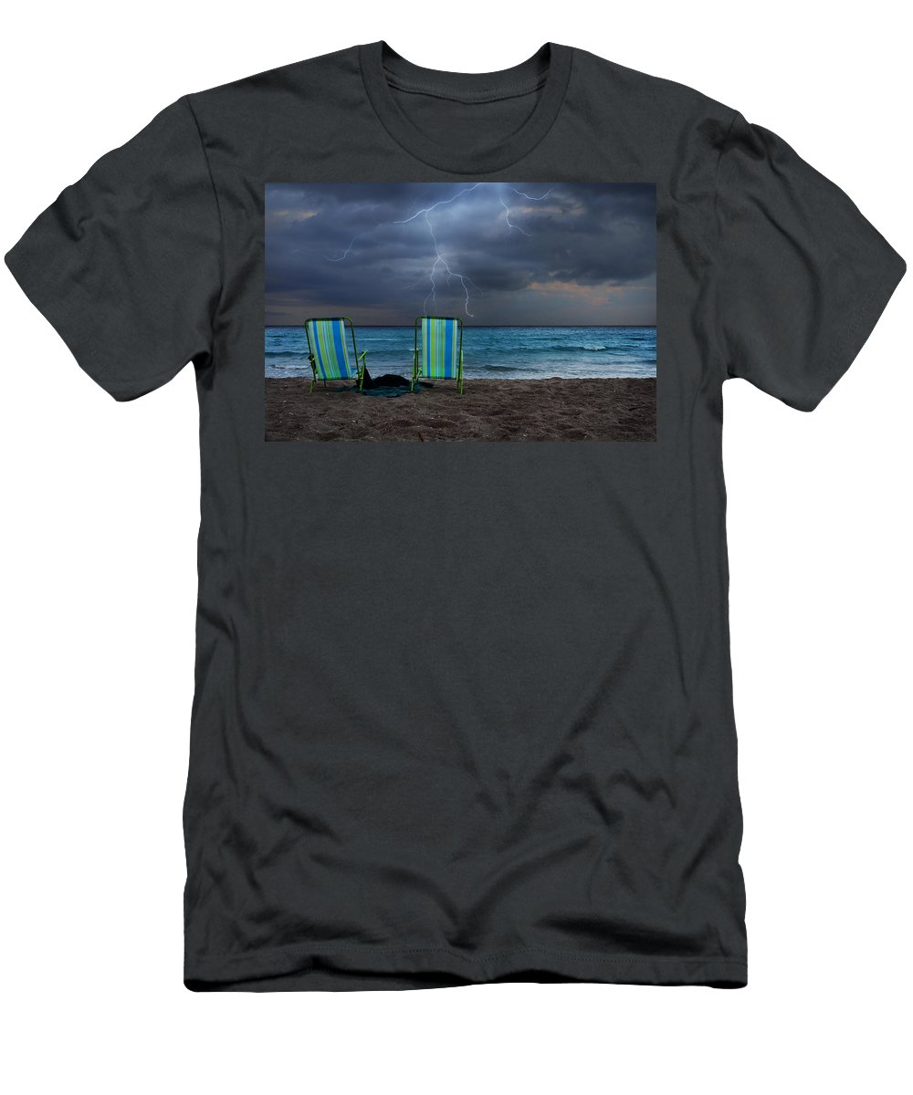 Lightning Men's T-Shirt (Athletic Fit) featuring the photograph Storm Chairs by Laura Fasulo