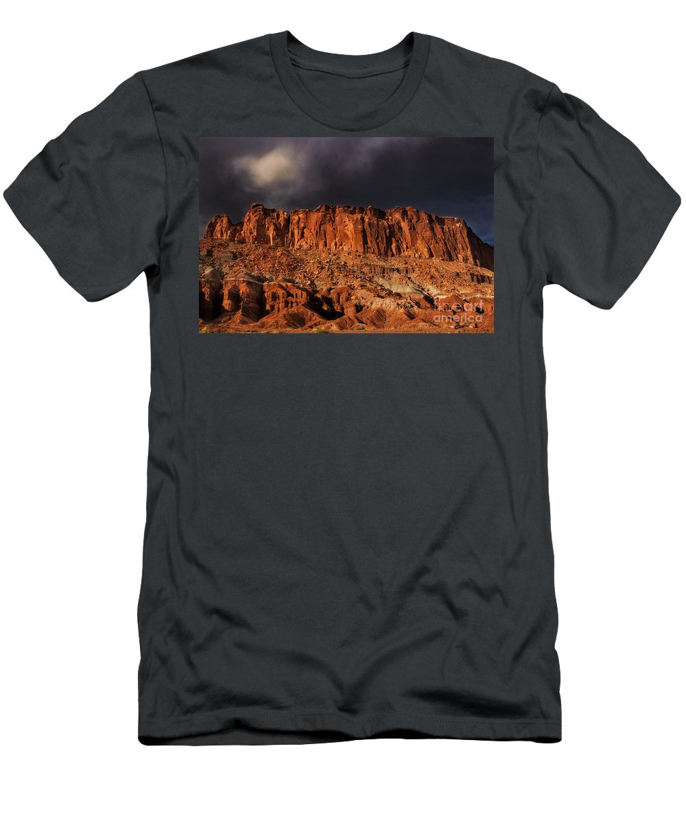 North America Men's T-Shirt (Athletic Fit) featuring the photograph Storm Clouds Capitol Reef National Park Utah by Dave Welling