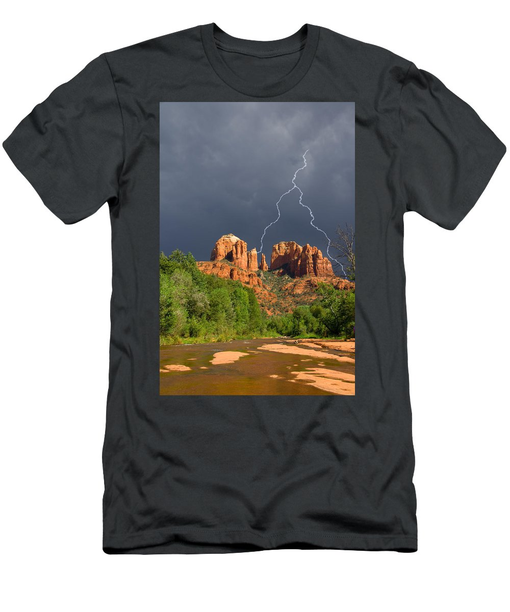 Cathedral Rock Men's T-Shirt (Athletic Fit) featuring the photograph Storm Over Cathedral Rock by Alexey Stiop