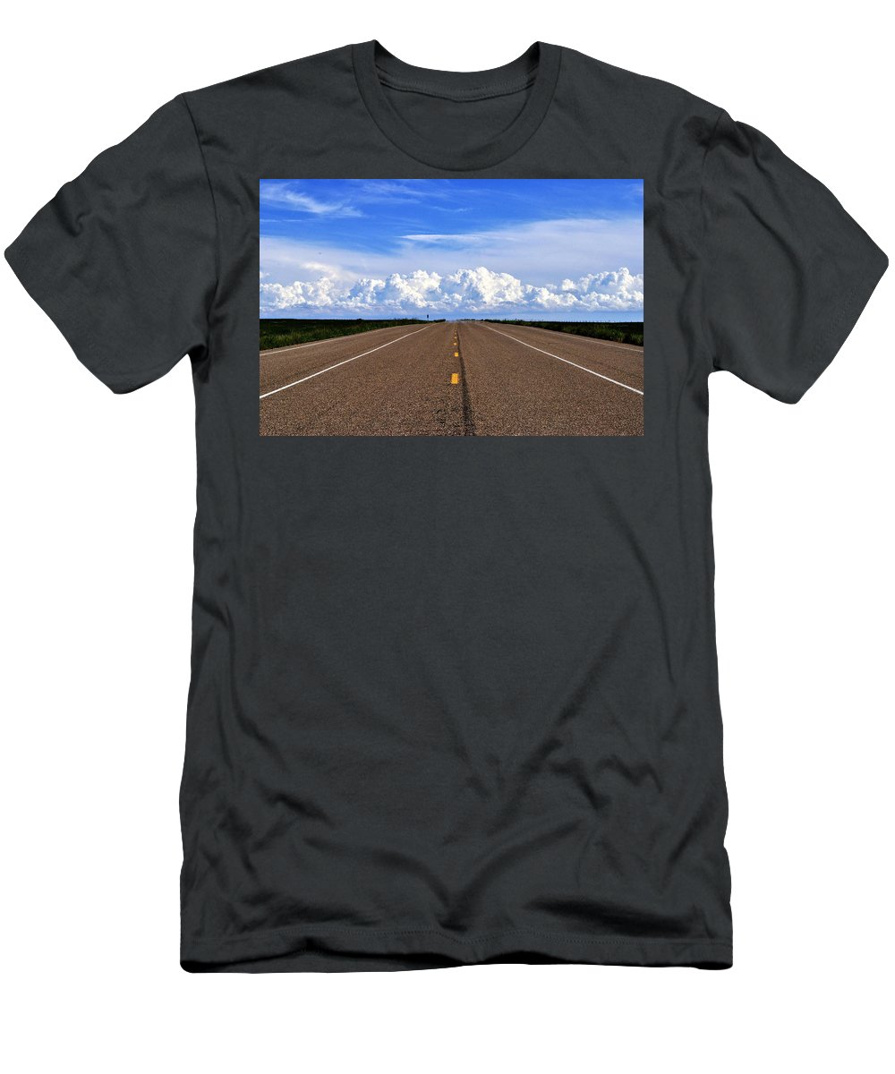 Landscape Men's T-Shirt (Athletic Fit) featuring the photograph Stormy Highway by Pam Romjue