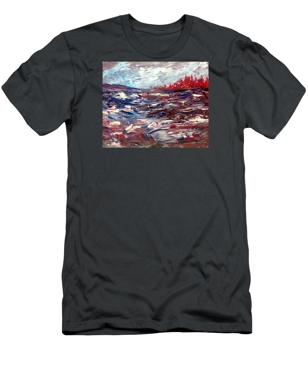 Abstract Landscape Canadian Northern Landscape Impressionist Group Of Seven Men's T-Shirt (Athletic Fit) featuring the painting Stormy Lake Abstract by Desmond Raymond