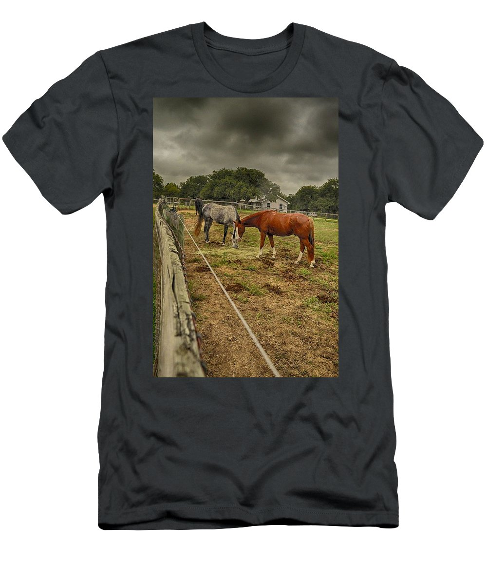 Horse Photograph Men's T-Shirt (Athletic Fit) featuring the photograph Stormy Skies by Kristina Deane