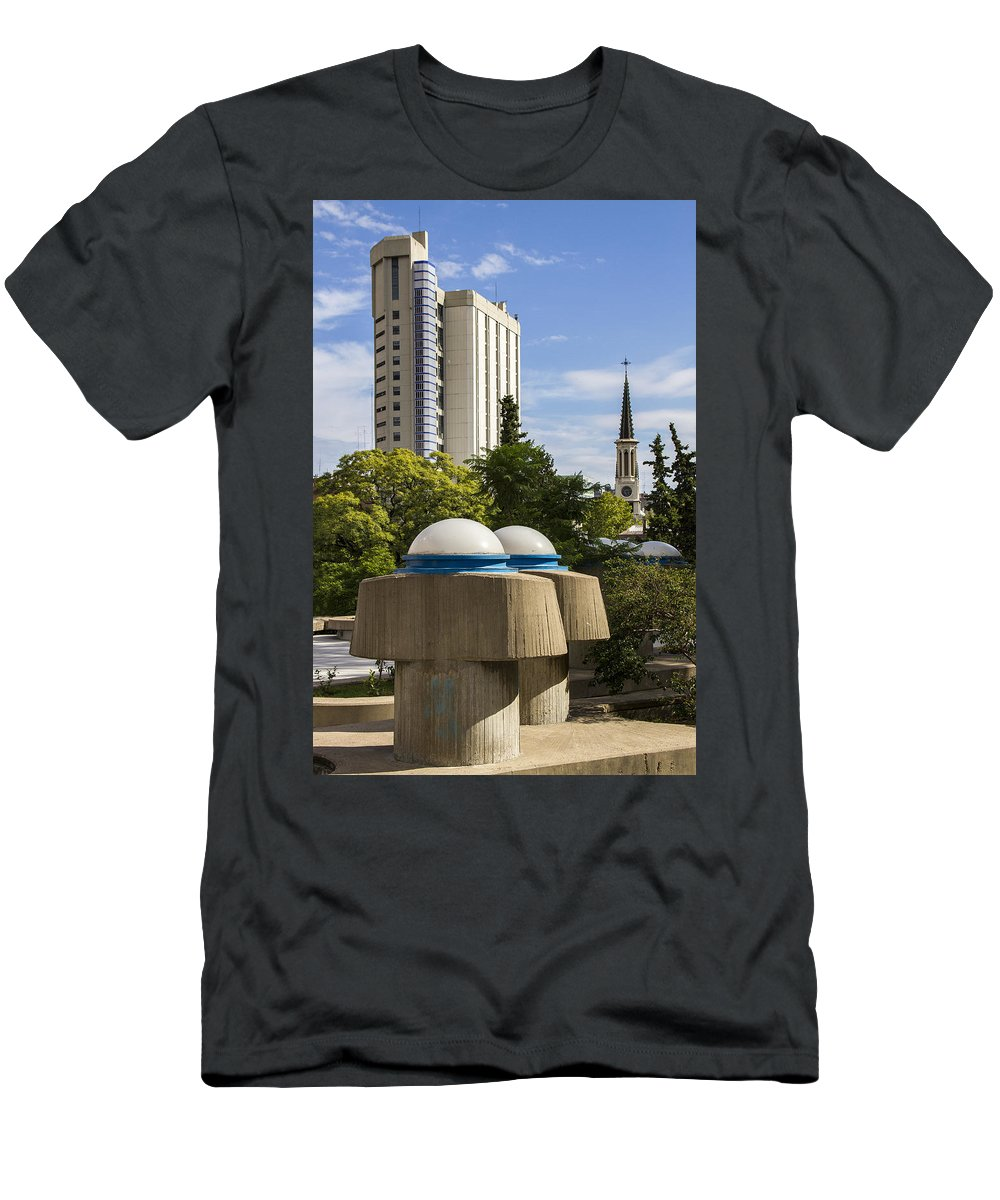 Buenos Aires Men's T-Shirt (Athletic Fit) featuring the relief Strange Buenos Aires Architecture by For Ninety One Days
