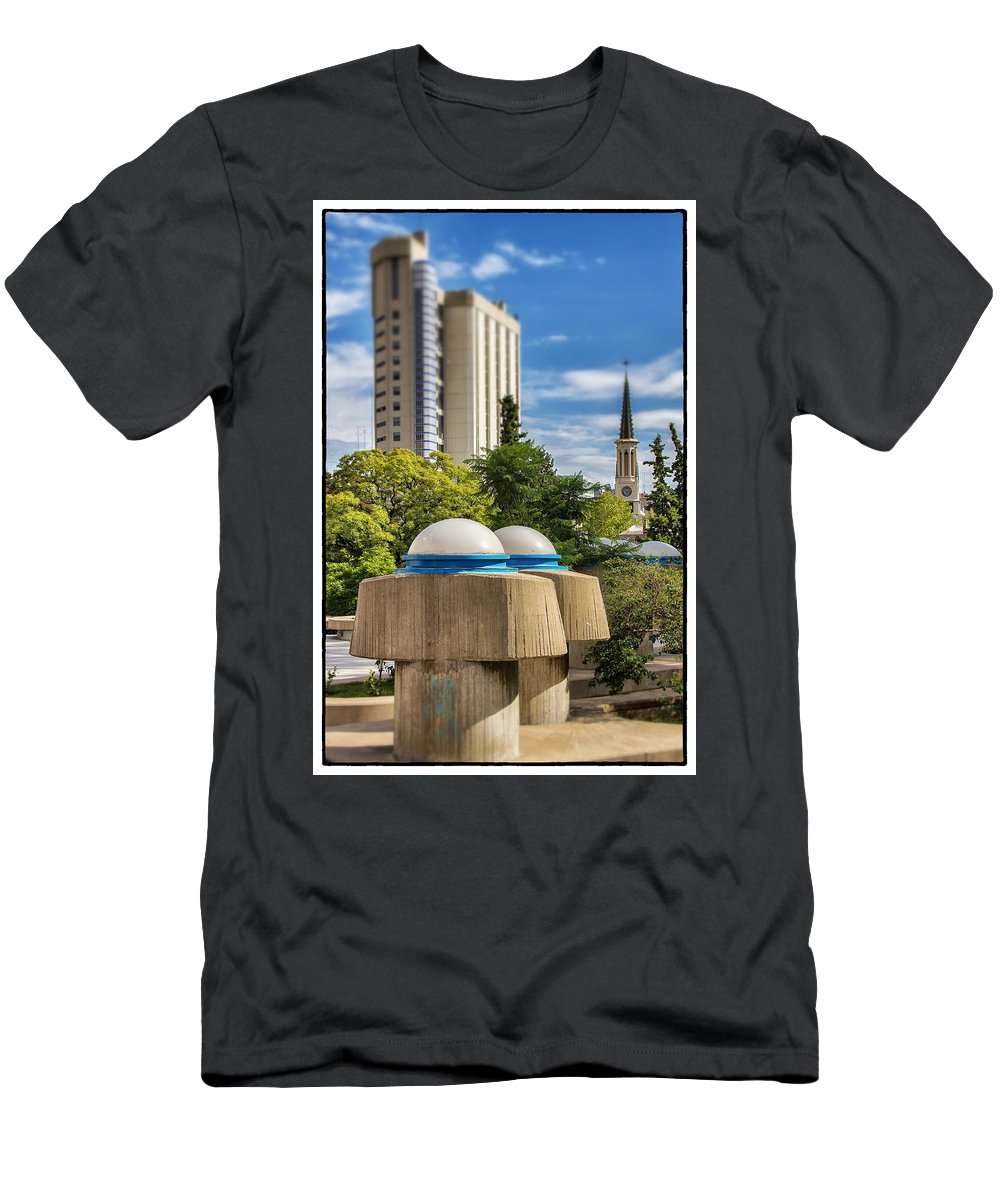 Buenos Aires Men's T-Shirt (Athletic Fit) featuring the photograph Strange Buenos Aires Architecture Tilt Shift by For Ninety One Days