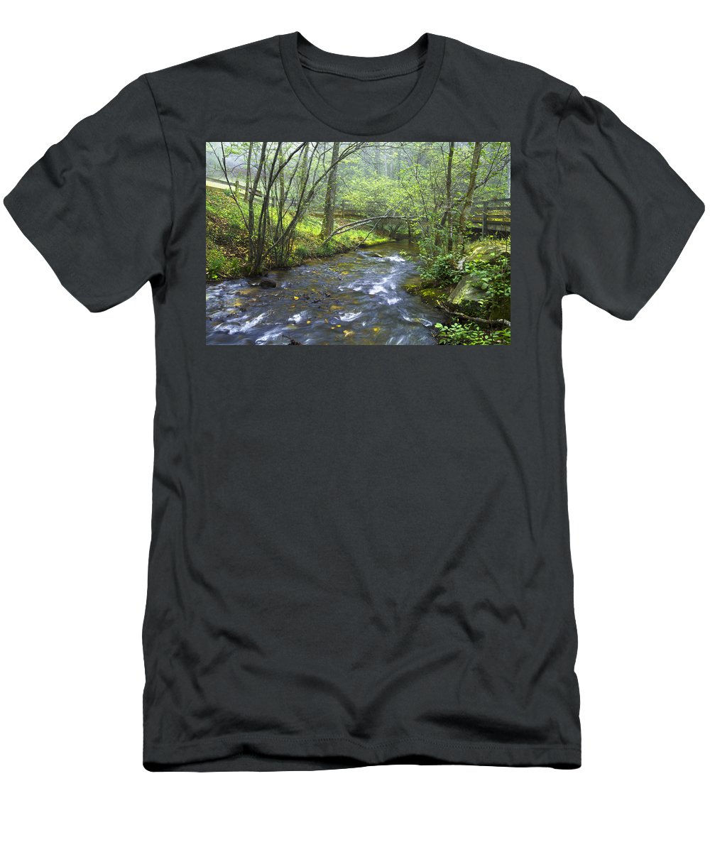 Appalachia Men's T-Shirt (Athletic Fit) featuring the photograph Stream Below Amicalola Falls by Debra and Dave Vanderlaan
