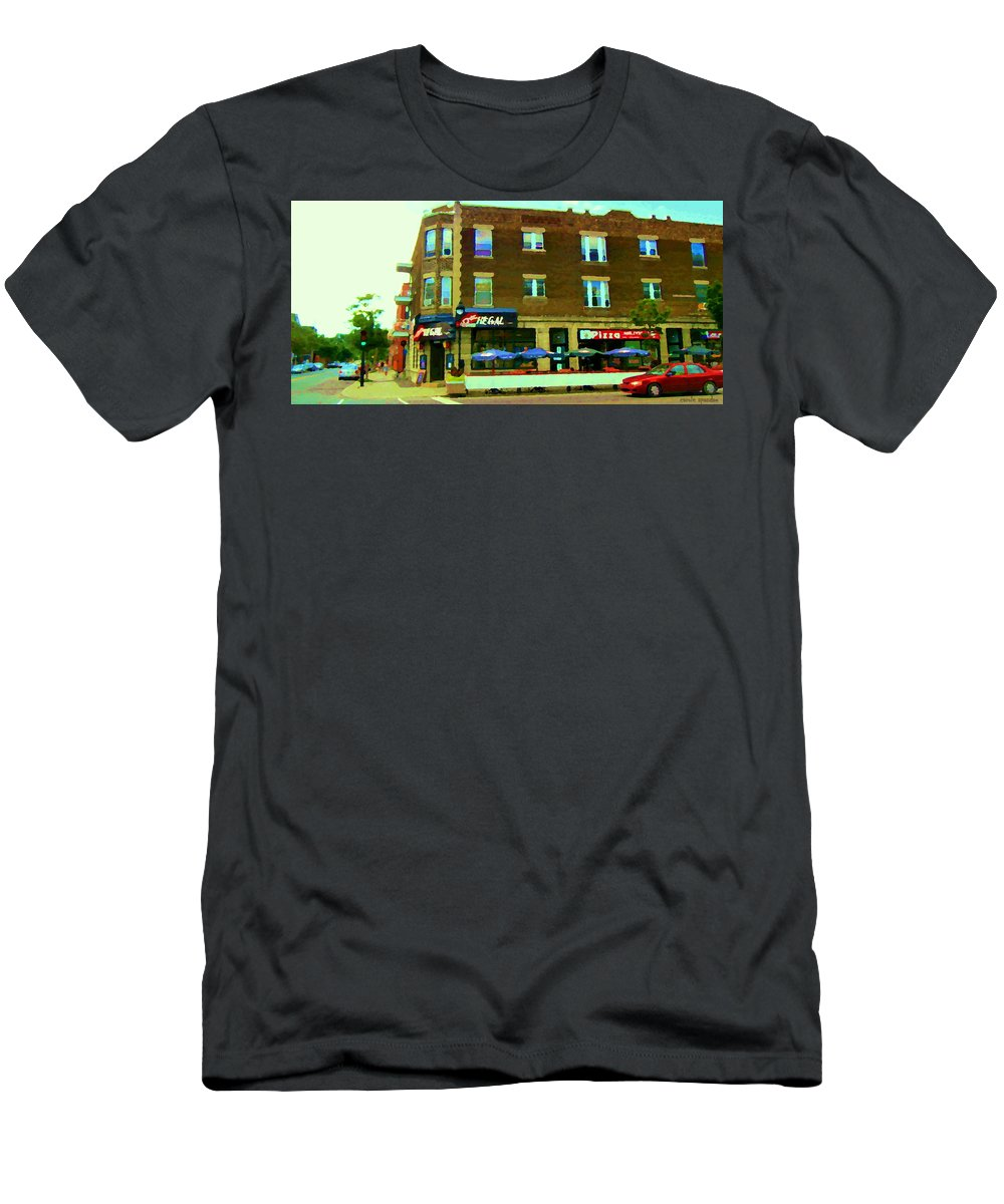 La Chic Regal Pub Men's T-Shirt (Athletic Fit) featuring the painting Streets Of Pointe St Charles Centre And Charlevoix Summer La Chic Regal Pub Scenes Carole Spandau by Carole Spandau