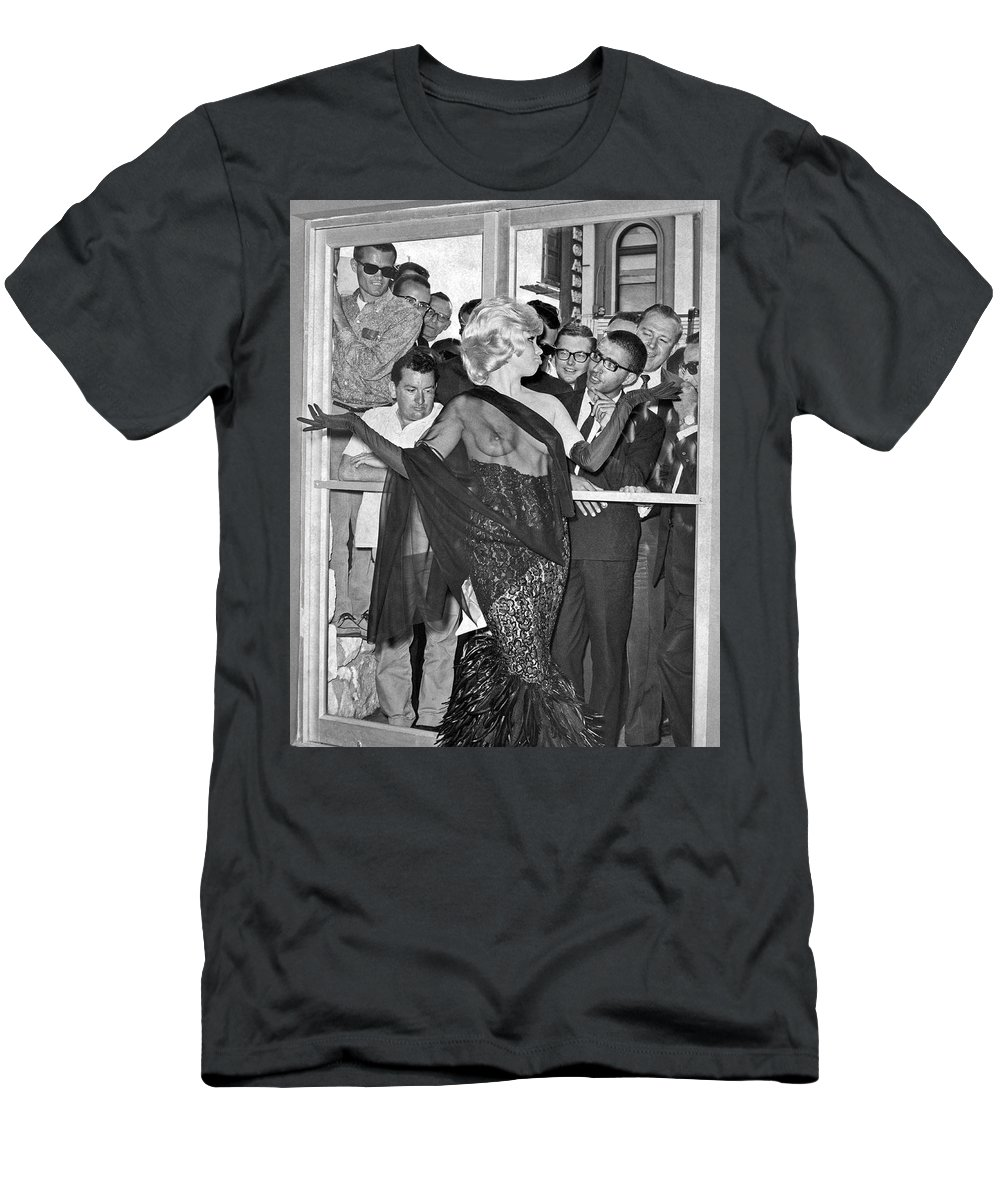 1960s Men's T-Shirt (Athletic Fit) featuring the photograph Strippers On Hold by Underwood Archives Gordon Peters