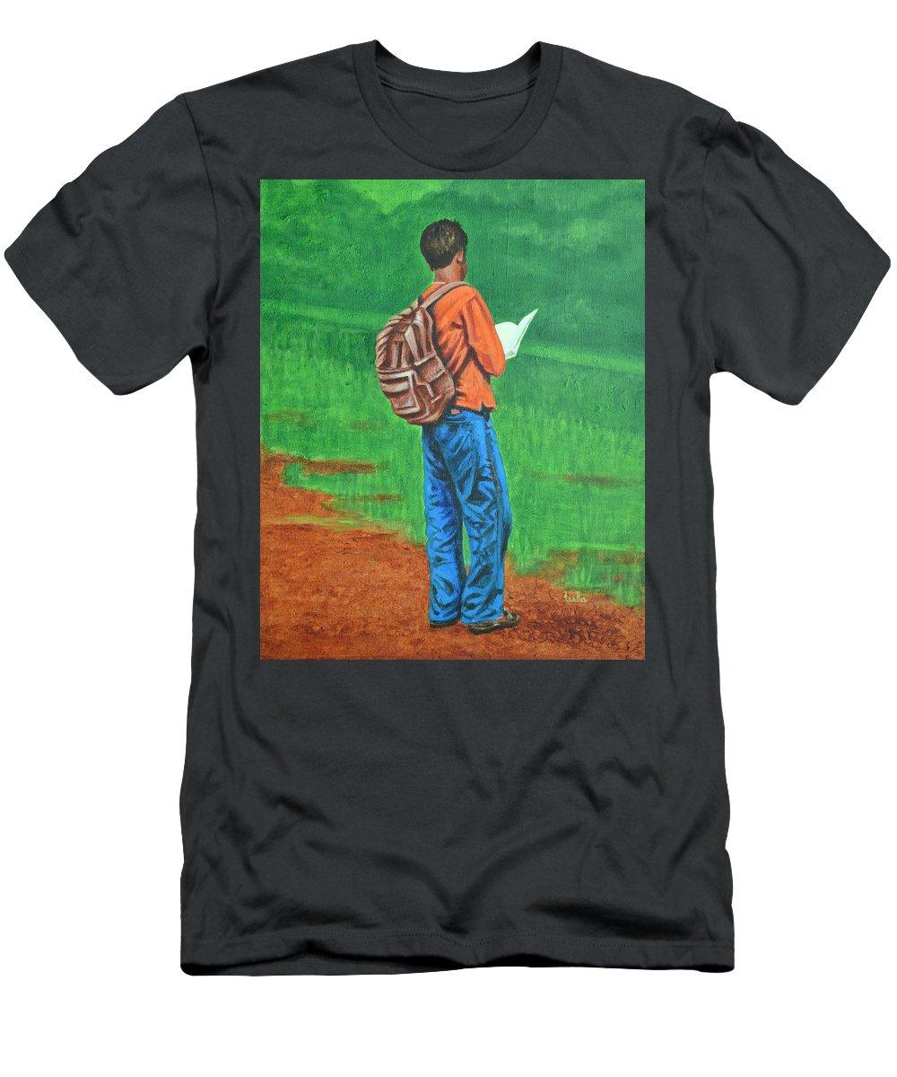 Usha Men's T-Shirt (Athletic Fit) featuring the painting Studious by Usha Shantharam