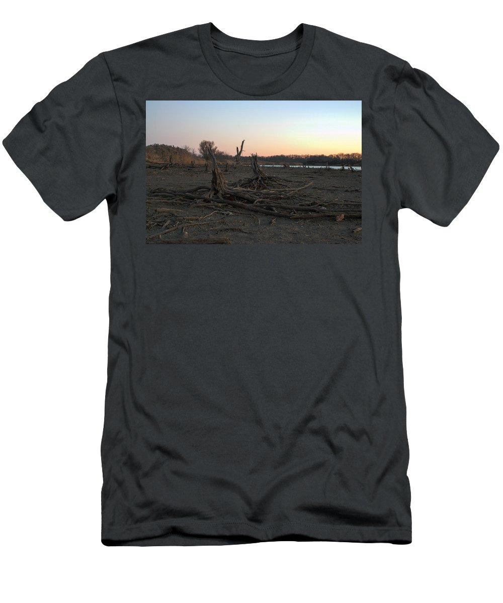 Ice Men's T-Shirt (Athletic Fit) featuring the photograph Stump Field by Thomas Sellberg