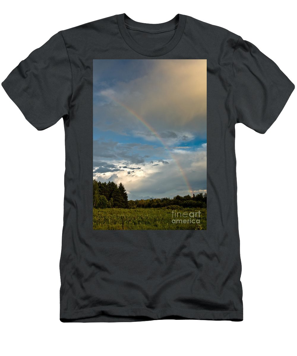 Rainbow Men's T-Shirt (Athletic Fit) featuring the photograph Stunning Rainbow by Cheryl Baxter