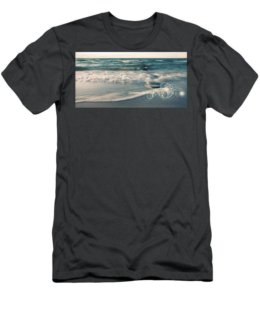 Ostsee Men's T-Shirt (Athletic Fit) featuring the pyrography Summer Beach by Steffen Gierok