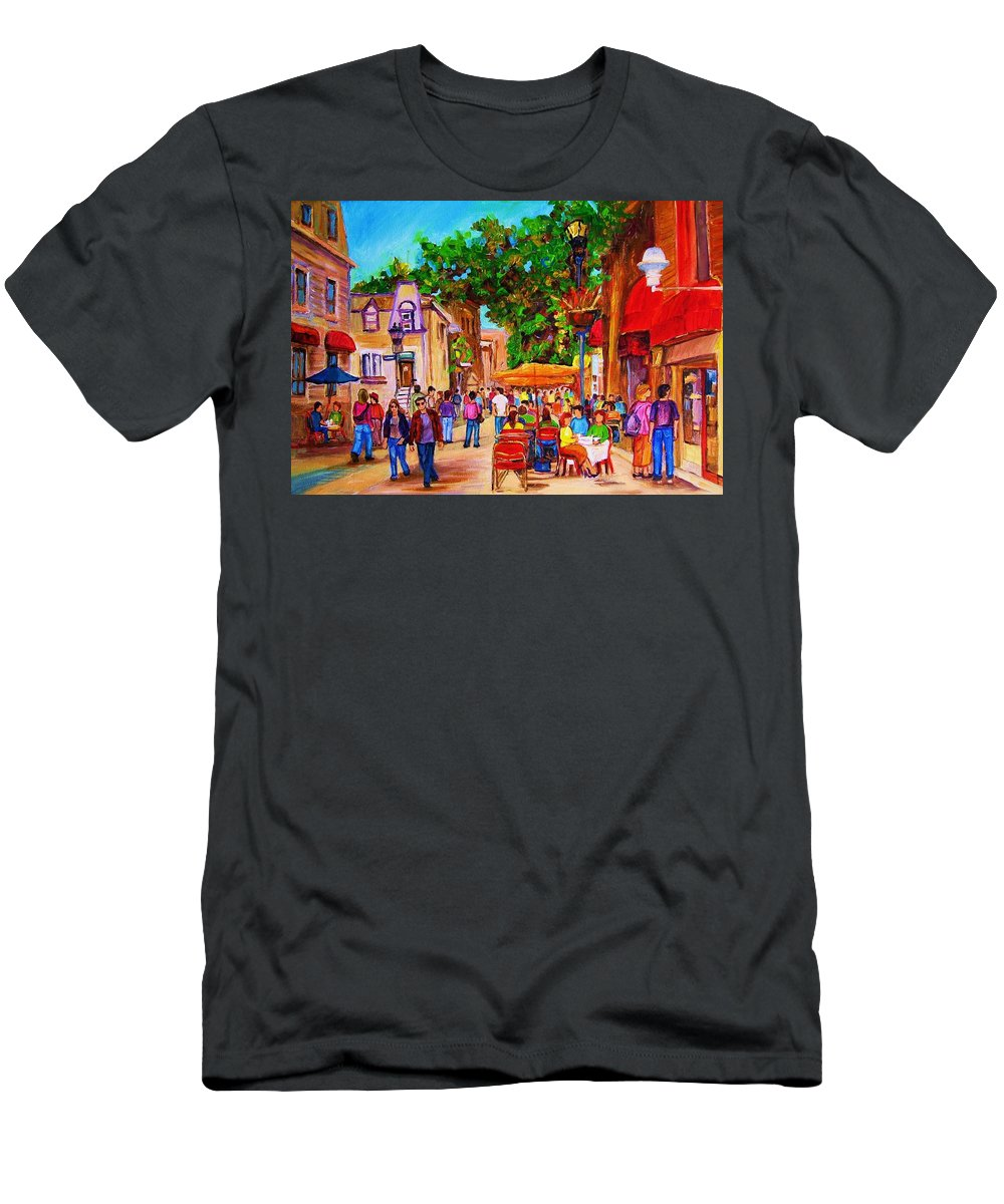 Summer Cafes Montreal Street Scenes T-Shirt featuring the painting Summer Cafes by Carole Spandau