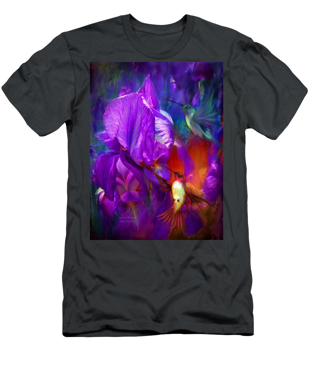 Hummingbird Men's T-Shirt (Athletic Fit) featuring the mixed media Summer Hummers by Carol Cavalaris