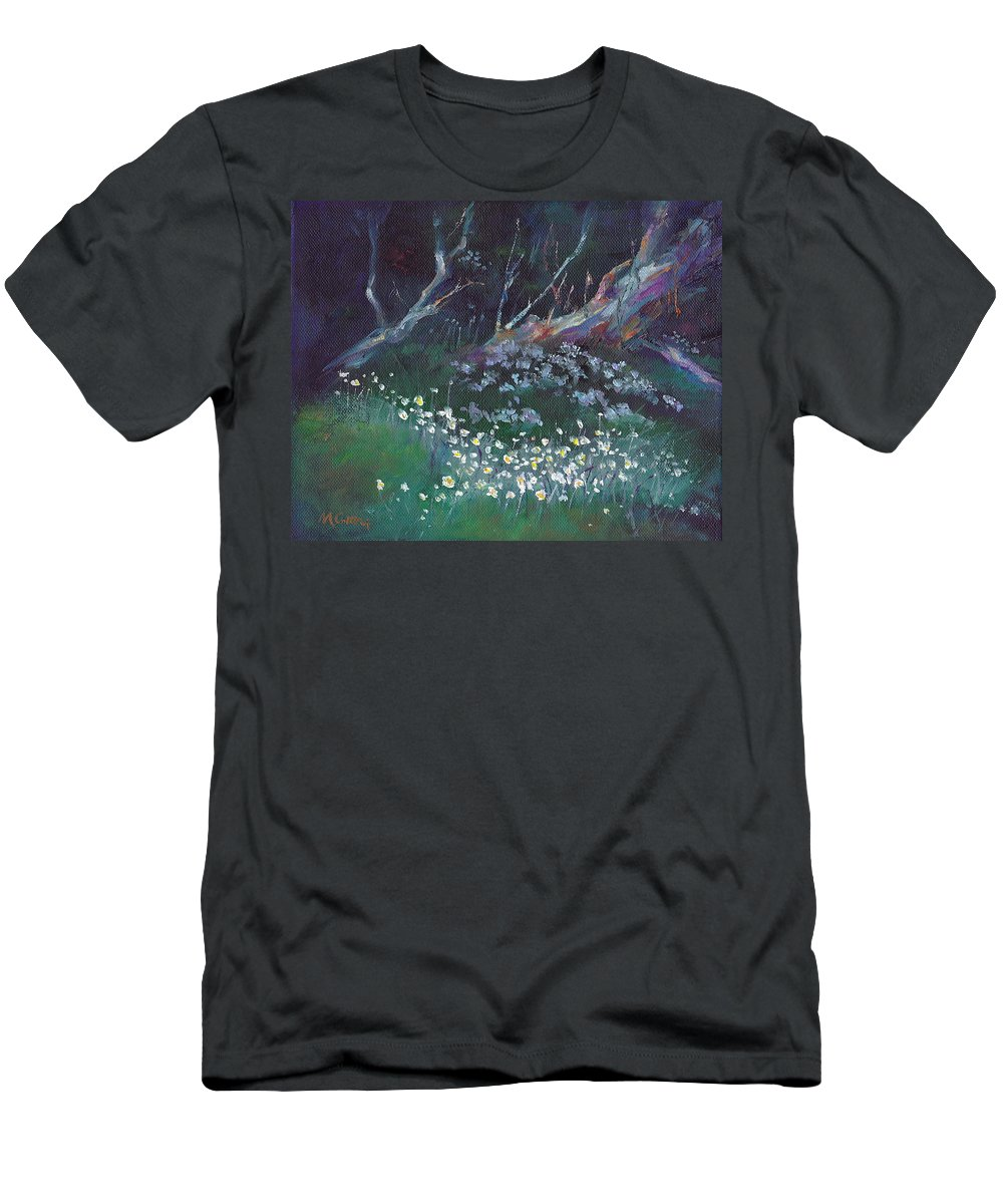 Snow Men's T-Shirt (Athletic Fit) featuring the painting Summer Snowflakes by Marie Green