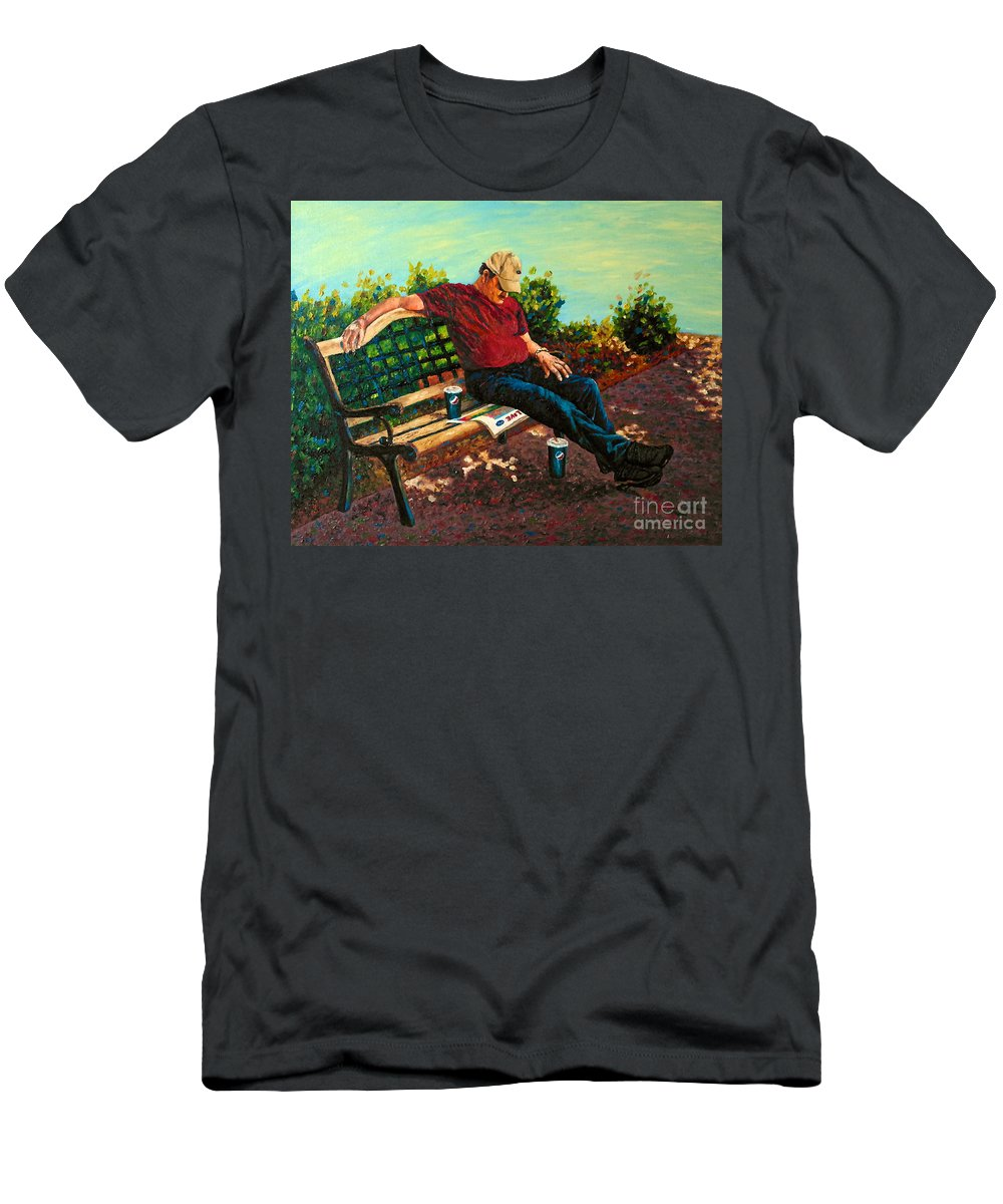 People Men's T-Shirt (Athletic Fit) featuring the painting Summertime Siesta by Francesca Kee