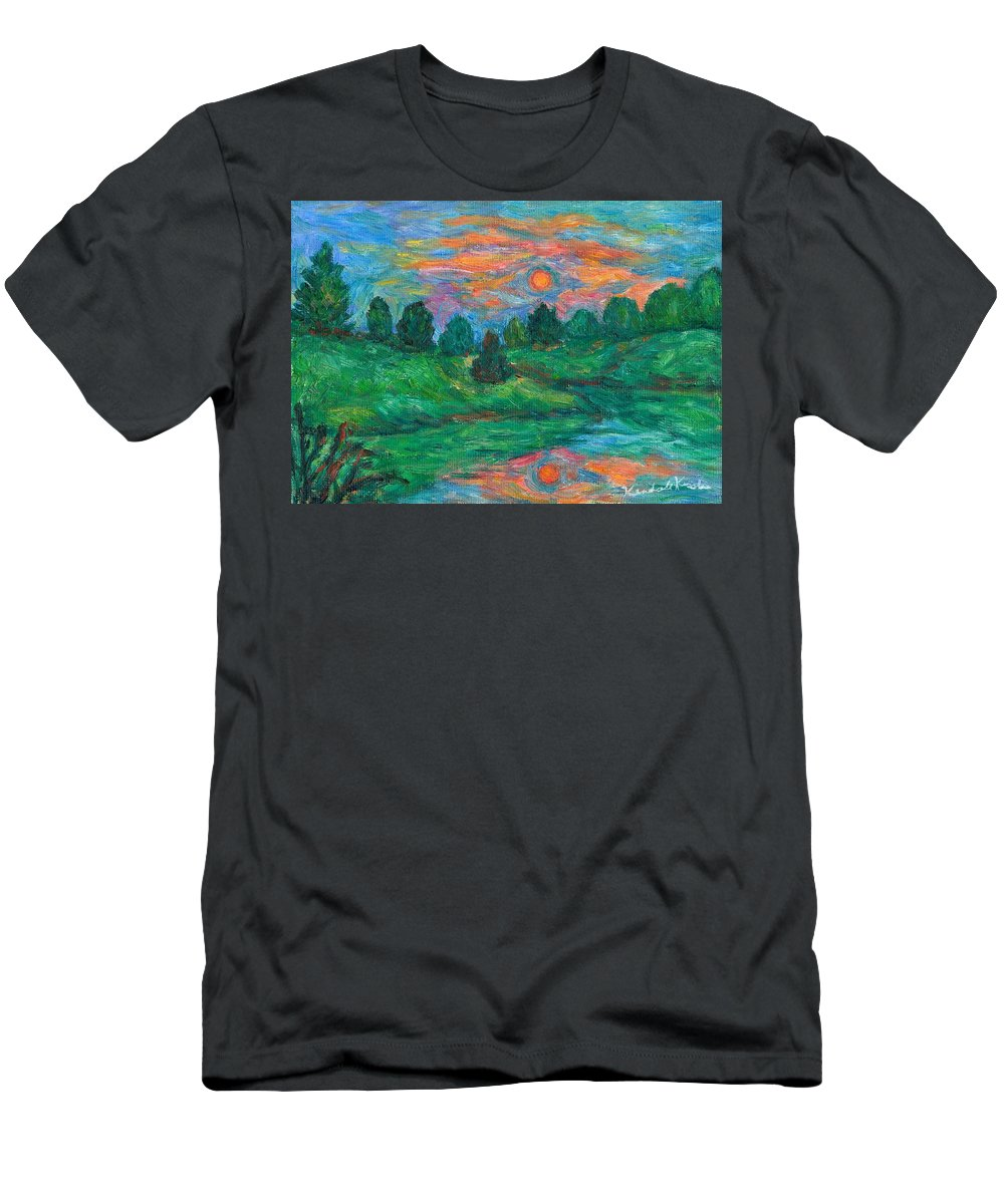 Sunset Men's T-Shirt (Athletic Fit) featuring the painting Sun In Water by Kendall Kessler