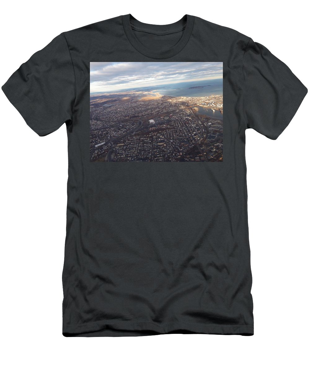Airplane Men's T-Shirt (Athletic Fit) featuring the photograph Sun Stained City by Two Bridges North