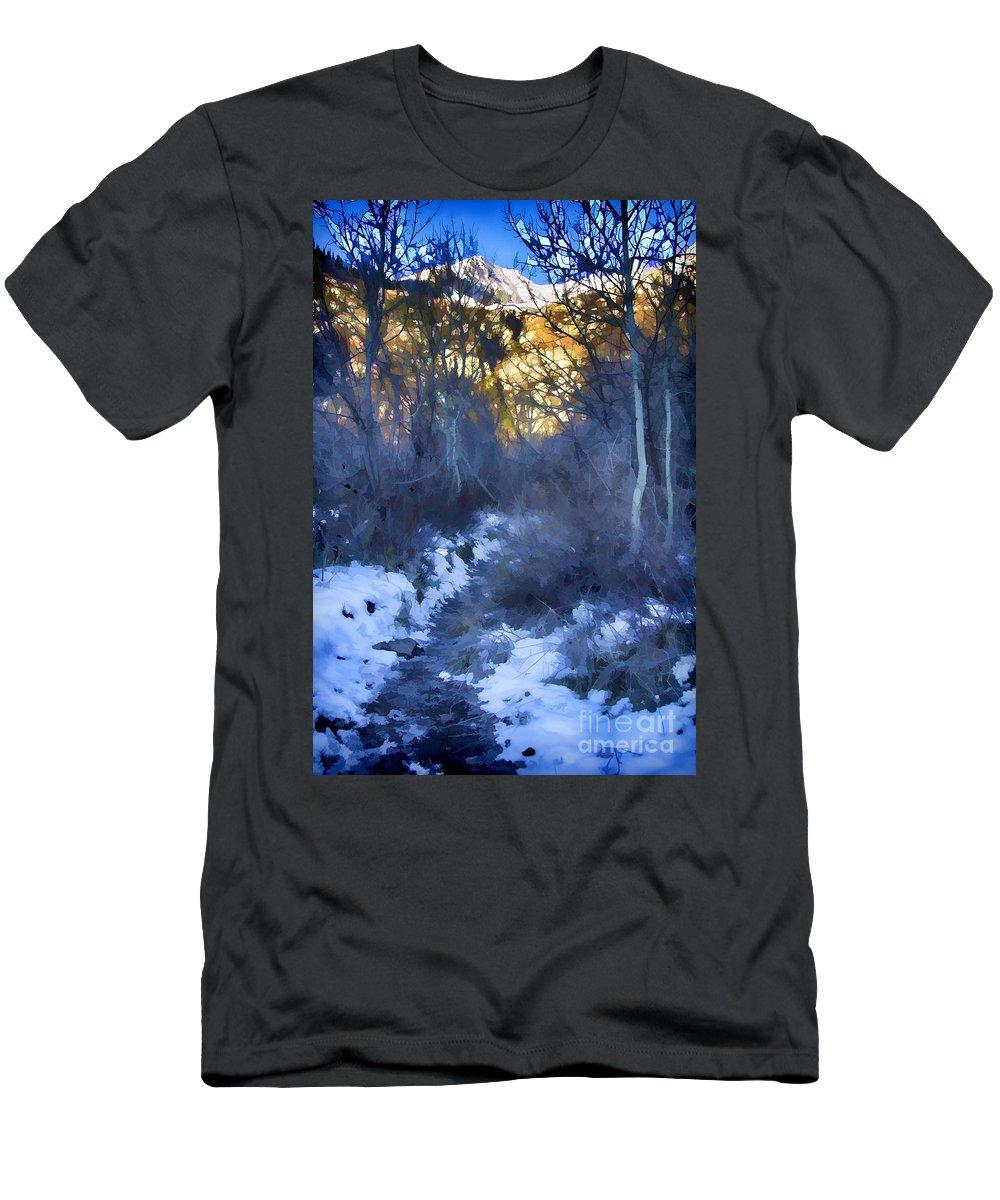 Ice Men's T-Shirt (Athletic Fit) featuring the photograph Sundance Aspen Trail by Douglas Barnard