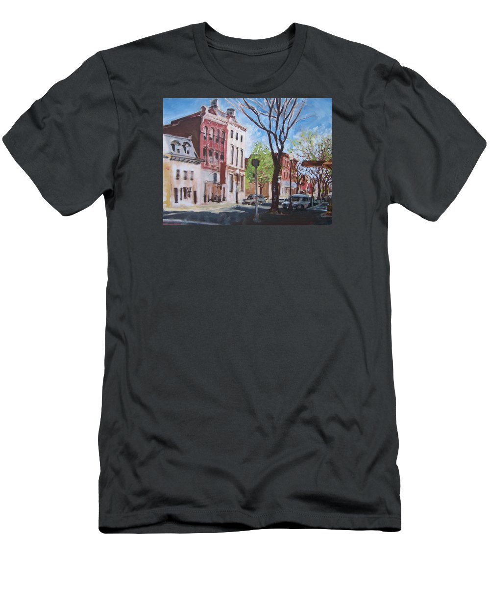 Impressionism Men's T-Shirt (Athletic Fit) featuring the painting Sunday Morning Williamsport by Geoffrey Haun